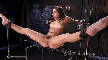 BDSM in HQ, brunette girls, dildo fucking, gagging on cock, hardcore screwing, kinky fetish, painful drilling, rough screwing